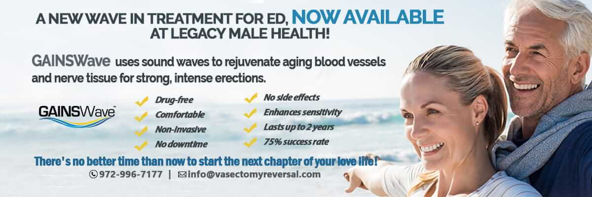 GAINSWave treatment for ED, coming soon to Legacy Male Health!